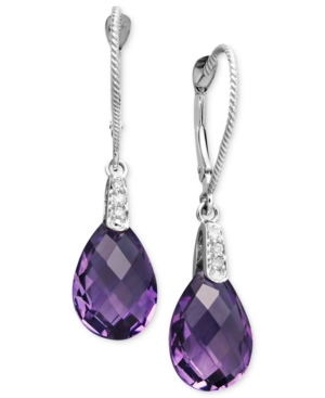 14k White Gold Earrings, Amethyst (5-9/10 ct. t.w.) and Diamond Accent Pear Brio Drop