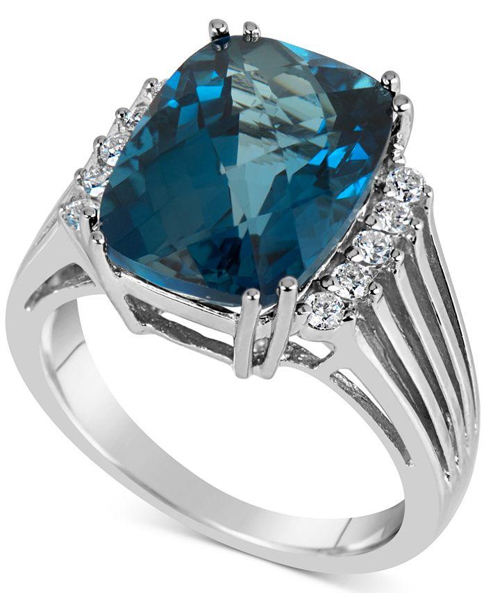 Macy's - Blue Topaz (7 ct. t.w.) & Diamond (1/5 ct. t.w.) Ring in 14k White Gold