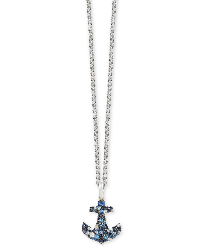 EFFY Collection - Multi-Sapphire Anchor Pendant Necklace (1-3/8 ct. t.w.) in Sterling Silver