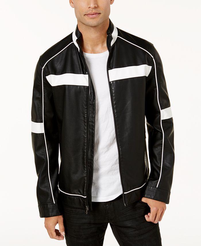 INC International Concepts - Men's Colorblocked Faux Leather Racer Jacket