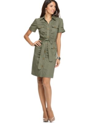 NY Collection Dress, Short Sleeve Ruched Belted Military Shirtdress