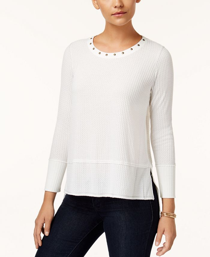 Style & Co - Petite Studded Textured Top