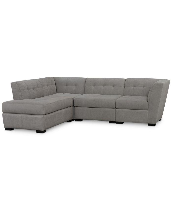 Furniture - Roxanne II Performance Fabric 4-Pc. Modular Sofa with Bumper, Created for Macy's