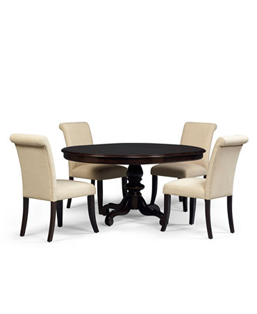 Bradford 5 piece round dining room furniture set with for Dining room tables macys