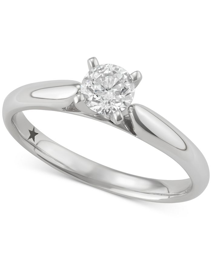 Macy's Star Signature Diamond - Certified ™ Solitaire Engagement Ring (1/2 ct. t.w.) in 14k Gold