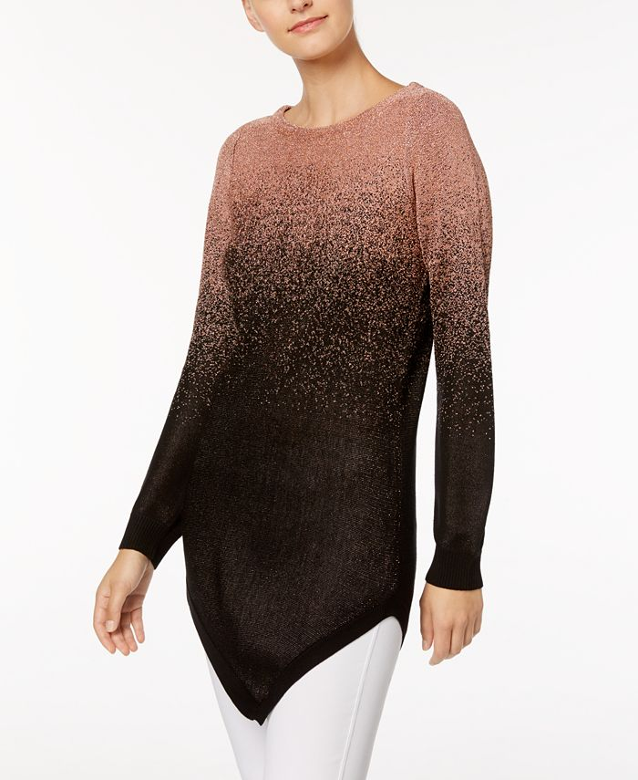NY Collection - Metallic Ombré Tunic Sweater