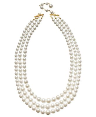 Charter Club Necklace, Three Row White Simulated Pearl (10 mm)