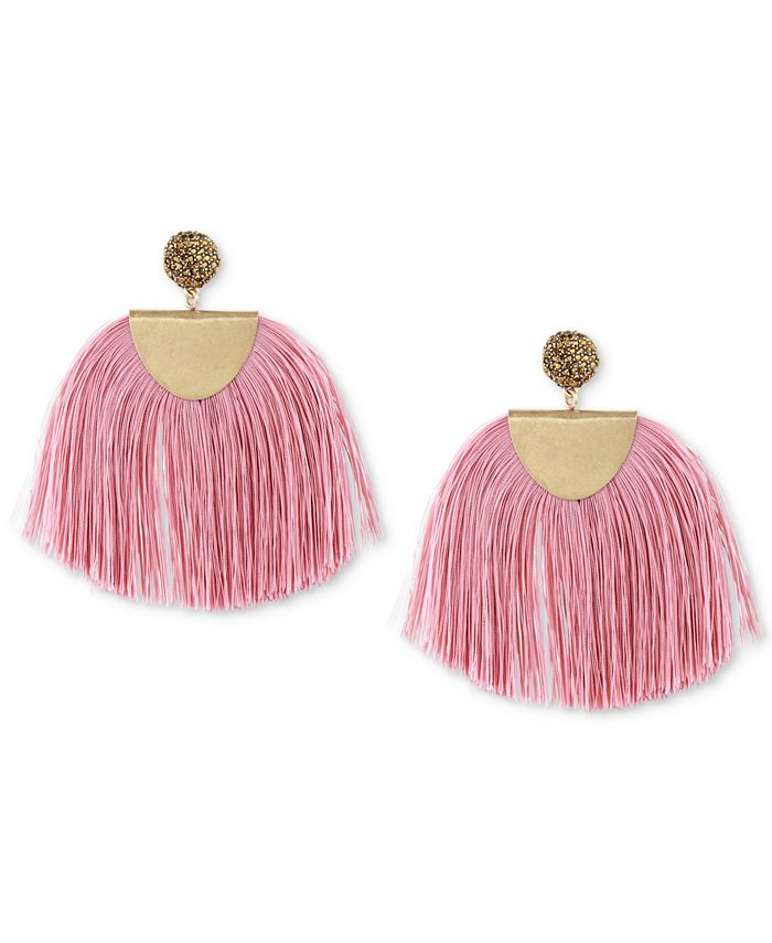 Lucky Brand - Gold-Tone Yellow Pavé & Pink Fringe Drop Earrings