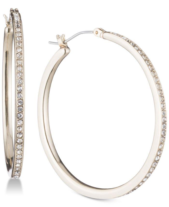DKNY - Gold-Tone Pavé Skinny Hoop Earrings