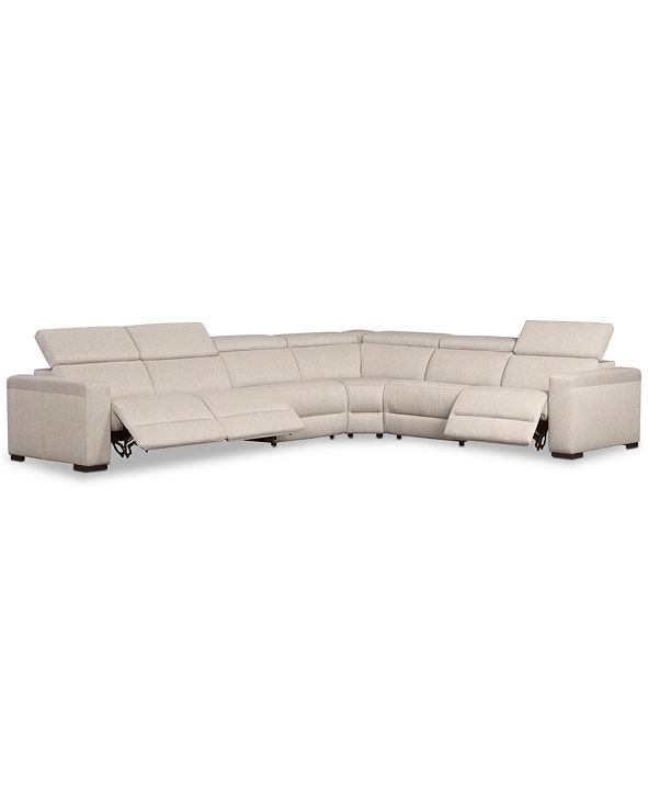 "Furniture Nevio 6-Pc. Fabric ""L"" Shaped Sectional Sofa with 3 Power Recliners and Articulating Headrests, Created for Macy's"