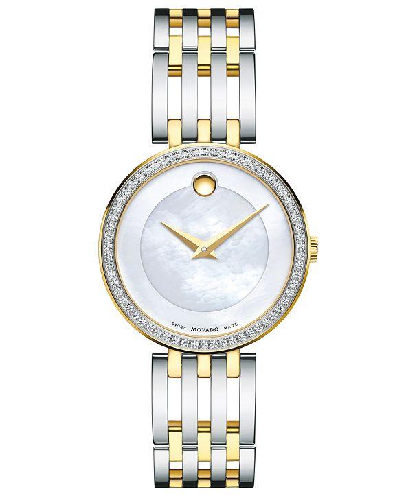 Movado Women's Swiss Esperanza Diamond (1/4 ct. t.w.) Two-Tone PVD Stainless Steel Bracelet Watch 28mm