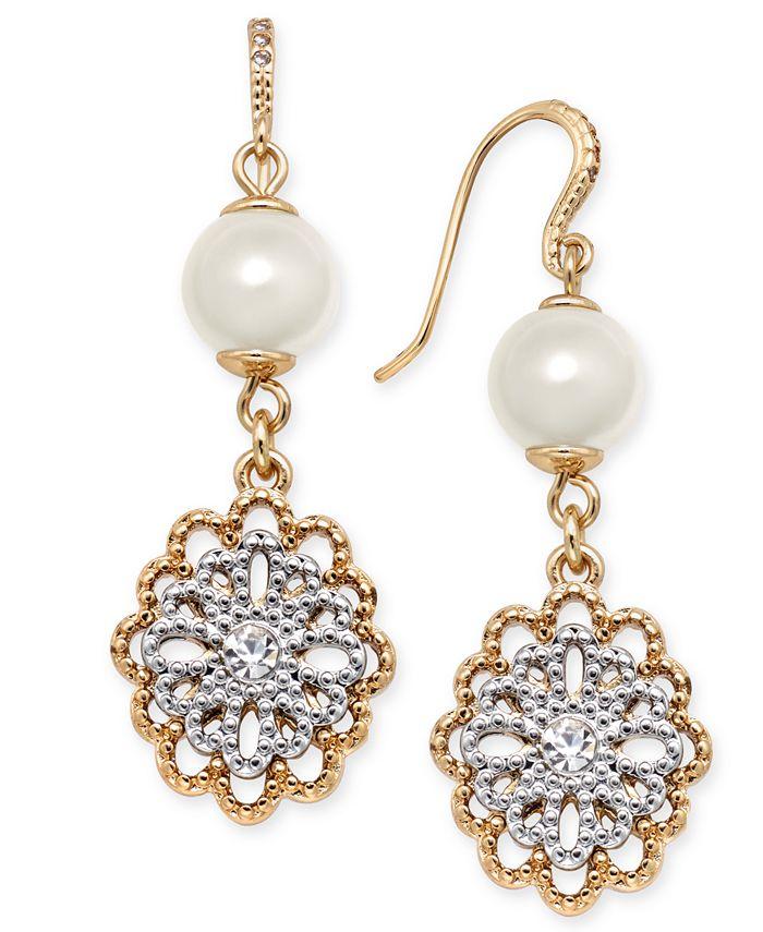 Charter Club - Two-Tone Crystal Filigree & Imitation Pearl Drop Earrings