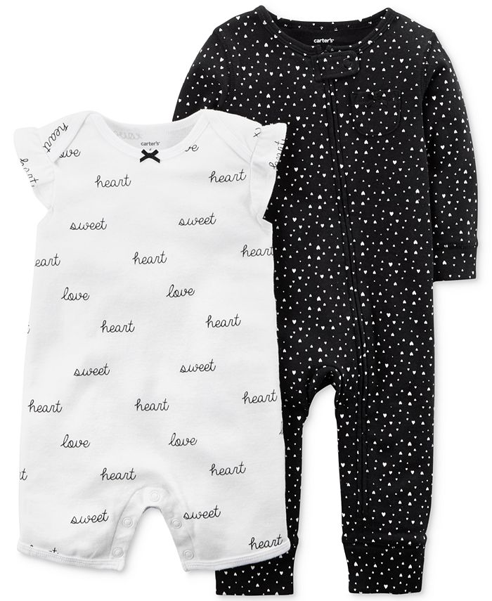 Carter's - 2-Pc. Printed Cotton Romper & Coverall Set, Baby Girls (0-24 months)