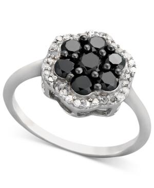 Diamond Ring, Sterling Silver Black Diamond and White Diamond Cluster (1 ct. t.w.)