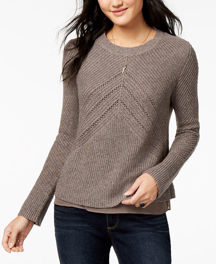 Lucky Brand - Layered Chiffon Hem Sweater