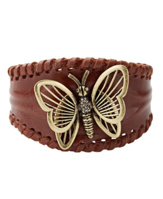 Fossil Bracelet, Leather Butterfly Cuff