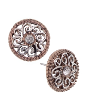 2028 Earrings, Rose Gold Tone Crystal Button