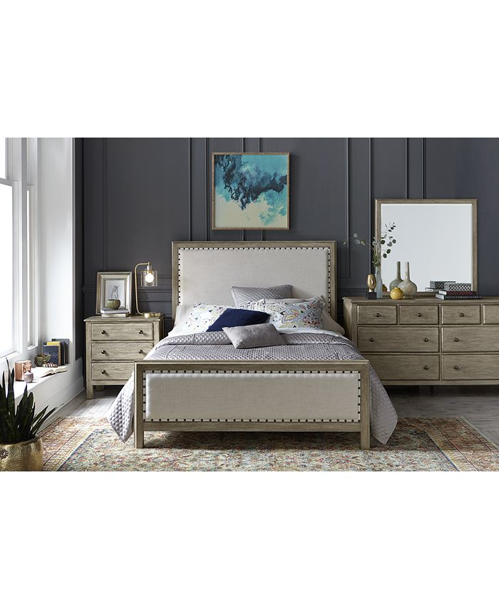 Furniture Parker Upholstered Bedroom Furniture 3 Pc Set Queen Bed Dresser Nightstand Created For Macy S Reviews Furniture Macy S