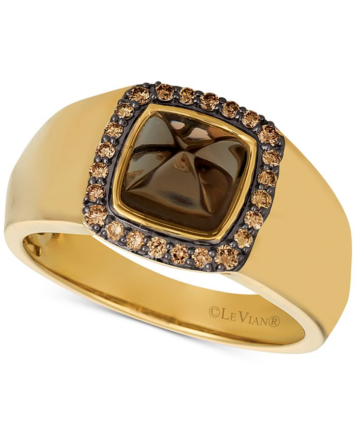 Le Vian - Men's Chocolate Quartz® (2-3/8 ct. t.w.) & Diamond (1/4 ct. t.w.) Ring in 14k Gold