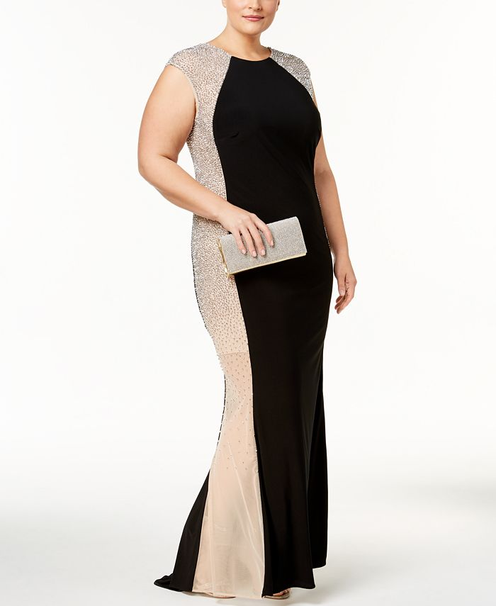 XSCAPE - Plus Size Embellished Colorblocked Gown
