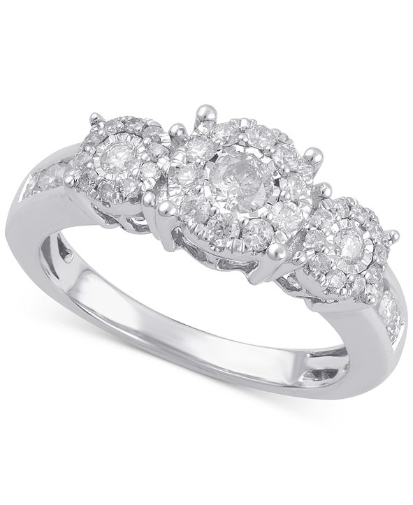 Macy's Diamond Three Stone Engagement Ring (3/4 ct. t.w.) in 14k Gold, White Gold or Rose Gold