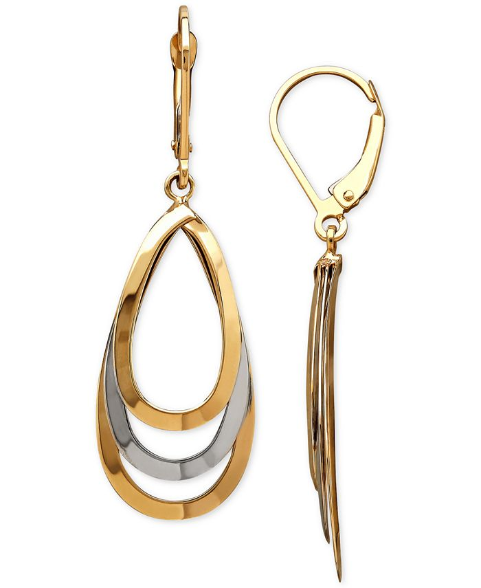 Macy's - Two-Tone Layered Teardrop Drop Earrings in 14k Gold & White Gold