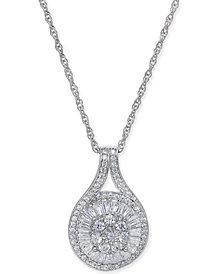 Diamond Baguette Cluster Pendant Necklace (1/2 ct. t.w.)