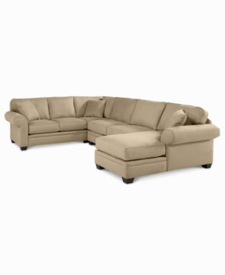 Raja fabric microfiber 3 piece chaise sectional sofa for Kenton fabric sectional sofa 3 piece