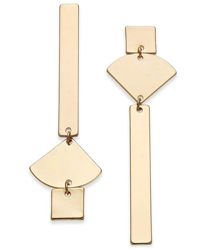 INC International Concepts - Gold-Tone Geometric Mismatch Linear Drop Earrings