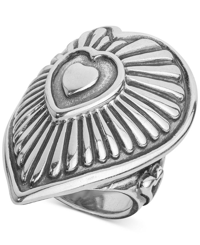 American West - Decorative Heart Ring in Sterling Silver
