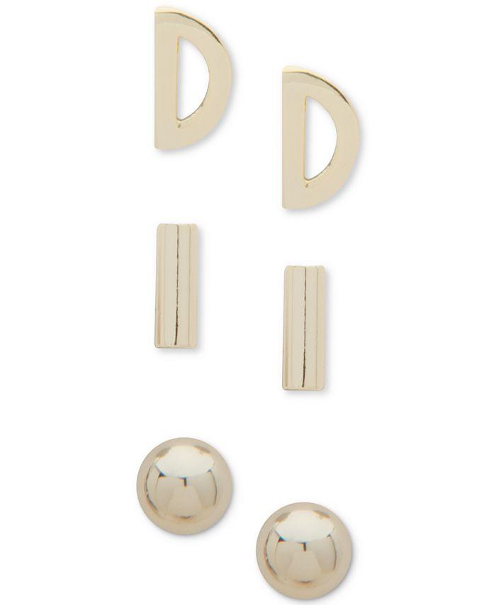 DKNY - Gold-Tone 3-Pc. Set Stud Earrings
