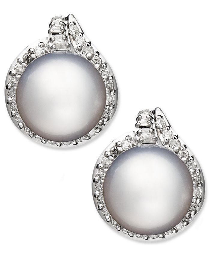 Macy's - 14k White Gold Earrings, Cultured South Sea Pearl (11mm) and Diamond (3/4 ct. t.w.) Stud Earrings
