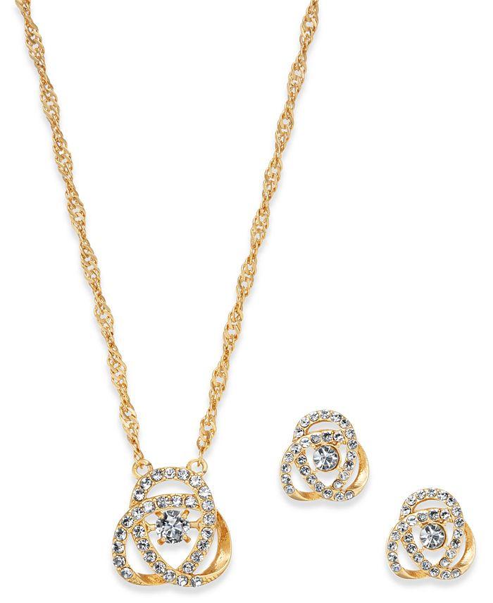 Charter Club - Gold-Tone Pavé Knot Pendant Necklace & Stud Earrings Set