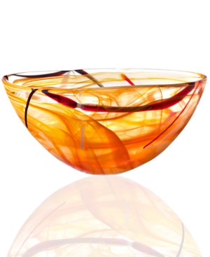 Kosta Boda Crystal Bowl, Contrast Orange Large