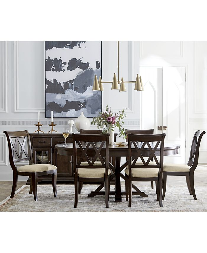 Furniture - Baker Street Round Dining , 7-Pc. Set (Dining Table & 6 Side Chairs)