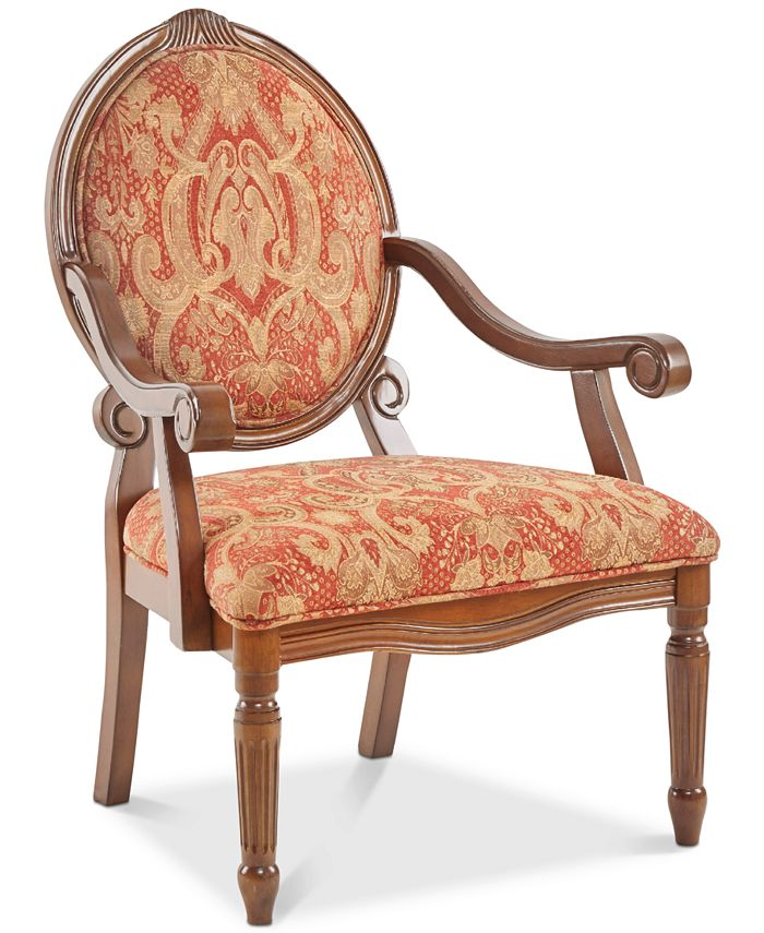 Furniture - Rosalyn Fabric Royal Burgundy Oval Back Accent Chair