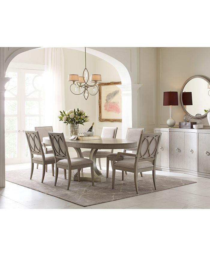 Furniture - Rachael Ray Cinema Round Dining , 7-Pc. Set (Expandable Dining Table & 6 Upholstered Side Chairs)
