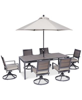 """Marlough II Outdoor Aluminum 7-Pc. Dining Set (84"""" x 42"""" Dining Table and 6 Swivel Rockers) with Sunbrella® Cushions, Created for Macy's"""