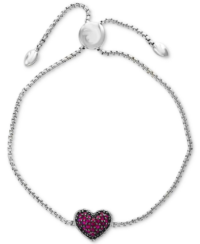EFFY Collection EFFY® Certified Ruby Cluster Slider Bracelet (5/8 ct. t.w.) in Sterling Silver & Reviews - Bracelets - Jewelry & Watches - Macy's