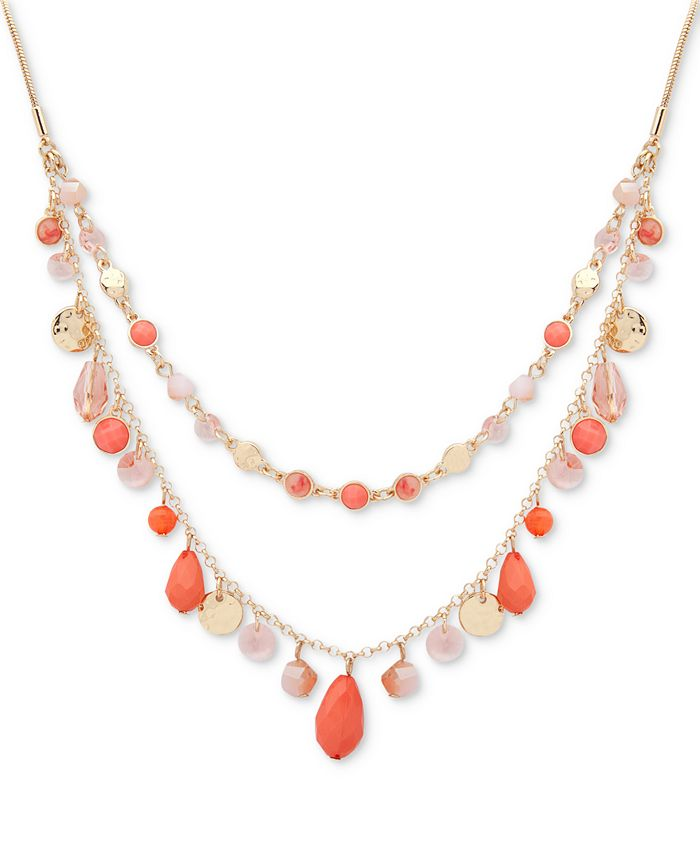 """Nine West - Gold-Tone Colored Stone & Bead 18"""" Double-Layer Necklace"""