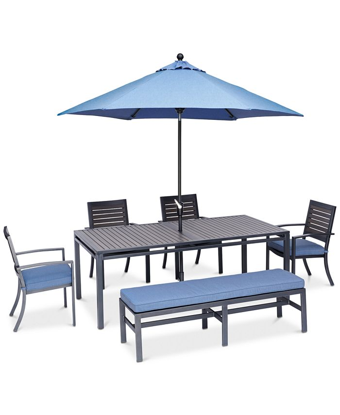 """Furniture - Harlough II Outdoor 6-Pc. Dining Set (84"""" x 42"""" Dining Table, 4 Dining Chairs and 1 Armless Bench) with Sunbrella® Cushions"""