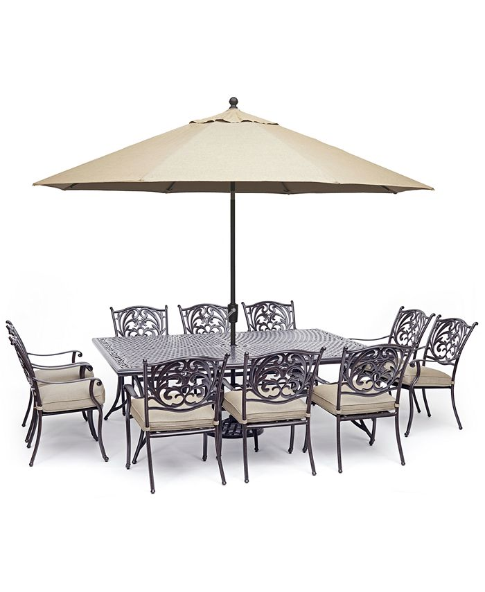 """Furniture - Chateau Outdoor Aluminum 11-Pc. Dining Set (84"""" X 60"""" Dining Table & 10 Dining Chairs) with Sunbrella® Cushions"""
