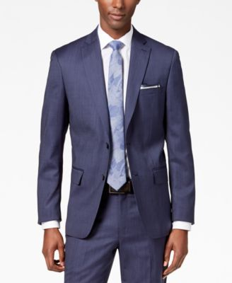 Men's Modern-Fit Stretch Textured Wool Suit Jacket