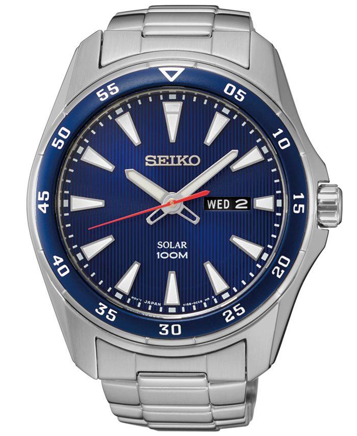 Seiko - Men's Solar Sport Stainless Steel Bracelet Watch 43mm
