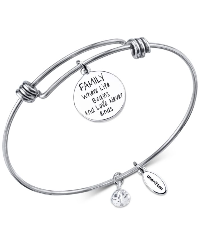 Unwritten Silver-Tone Tree Adjustable Bangle Bracelet in Stainless Steel  with Silver Plated Charms & Reviews - Bracelets - Jewelry & Watches - Macy's