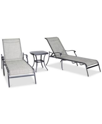 Vintage II Outdoor Cast Aluminum 3-Pc. Chaise Set (2 Sling Chaise Lounges & 1 End Table), Created for Macy's
