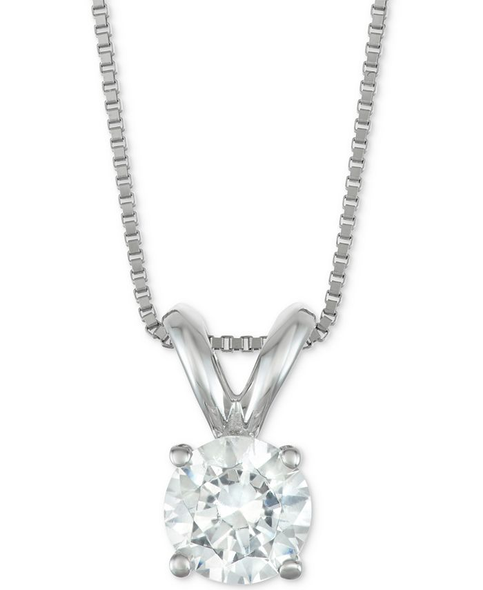 "Macy's Star Signature Diamond - Certified Diamond Solitaire 18"" Pendant Necklace (1/2 ct. t.w.) in 14k Gold or White Gold"
