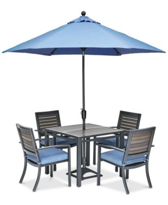"Harlough II 5-Pc. Outdoor Dining Set (36"" Square Dining Table and 4 Dining Chairs) with Sunbrella® Cushions, Created for Macy's"