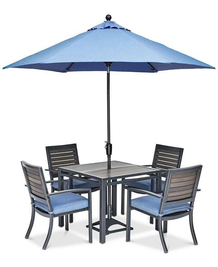 "Furniture - Harlough II Outdoor 5-Pc. Dining Set (36"" Square Dining Table and 4 Dining Chairs) with Sunbrella® Cushions"