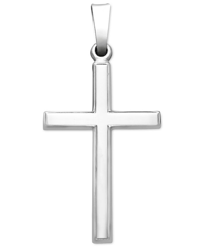 Macy's - 14k White Gold Pendant, Traditional Cross